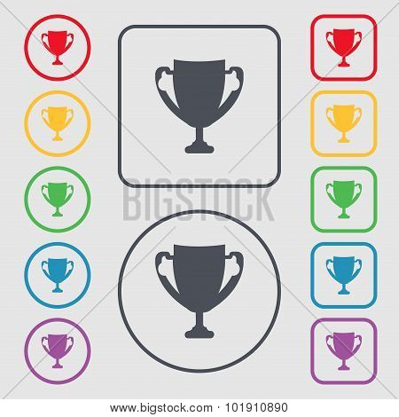 Winner Cup Sign Icon. Awarding Of Winners Symbol. Trophy. Symbols On The Round And Square Buttons Wi