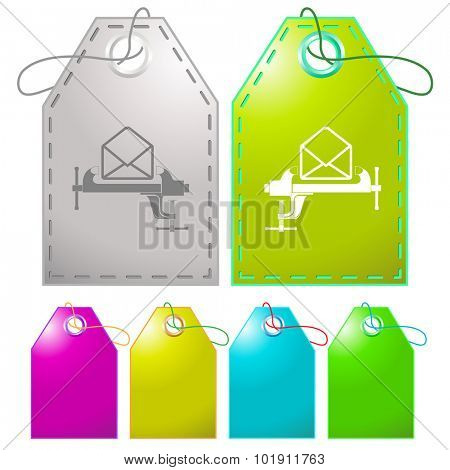 open mail with clamp. Vector tags.
