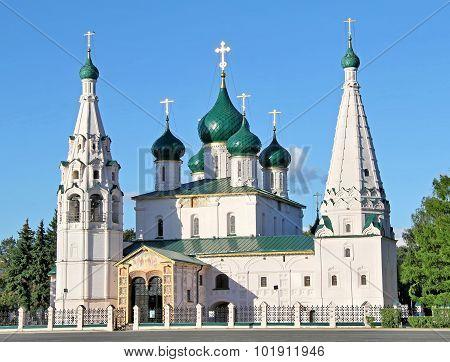 Prophet Elijah's Church over blue sky in Yaroslavl, Russia