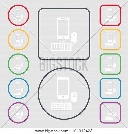 Smartphone Widescreen Monitor, Keyboard, Mouse Sign Icon. Symbols On The Round And Square Buttons Wi