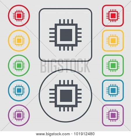 Central Processing Unit Icon. Technology Scheme Circle Symbol. Symbols On The Round And Square Butto