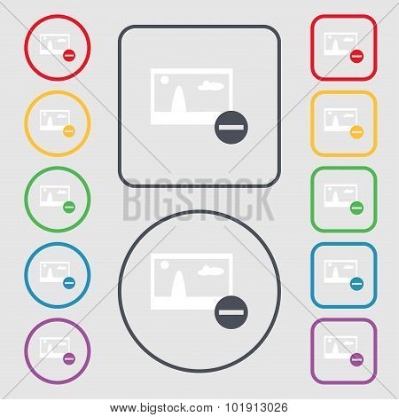 Minus File Jpg Sign Icon. Download Image File Symbol. Set Colourful Buttons. Symbols On The Round An