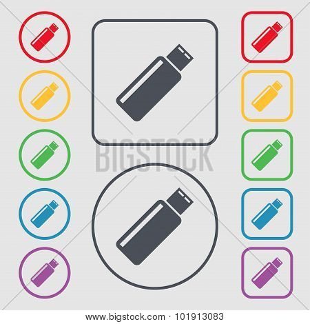 Usb Sign Icon. Flash Drive Stick Symbol. Symbols On The Round And Square Buttons With Frame. Vector