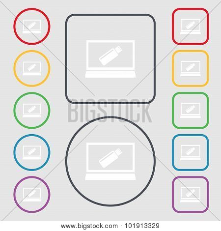 Usb Flash Drive And Monitor Sign Icon. Video Game Symbol. Symbols On The Round And Square Buttons Wi
