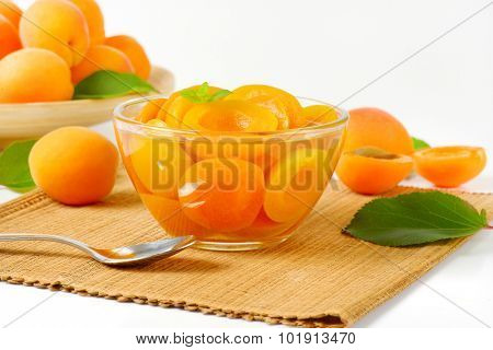 detail of apricot compote served in the glass bowl with spoon