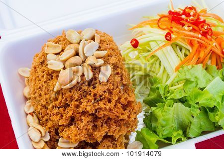 Crispy Catfish Salad In Styrofoam Box By Thailand Street Food Vender