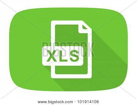 xls file flat design modern icon with long shadow for web and mobile app