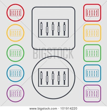 Dj Console Mix Handles And Buttons, Level Icons. Symbols On The Round And Square Buttons With Frame.