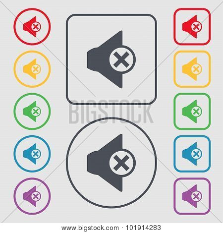 Mute Speaker Sign Icon. Sound Symbol. Symbols On The Round And Square Buttons With Frame. Vector