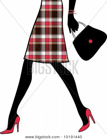 Woman Sexy Legs With Handbag. Shopping And Business. Vector Illustration