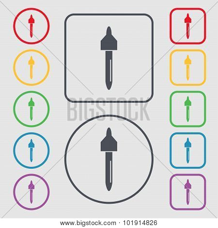 Dropper Sign Icon. Pipette Symbol. Symbols On The Round And Square Buttons With Frame. Vector