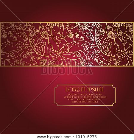 Invitation Card on Deep Red Background with Lace Frame Ornament.