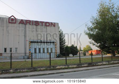 CERRETO DESI, IT - AUGUST 12, 2015: Facade of factory Ariston