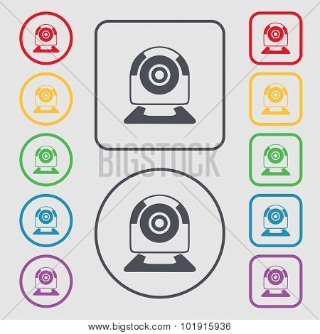 Webcam Sign Icon. Web Video Chat Symbol. Camera Chat. Symbols On The Round And Square Buttons With F