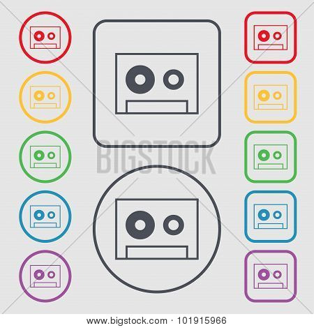 Cassette Sign Icon. Audiocassette Symbol. Symbols On The Round And Square Buttons With Frame. Vector