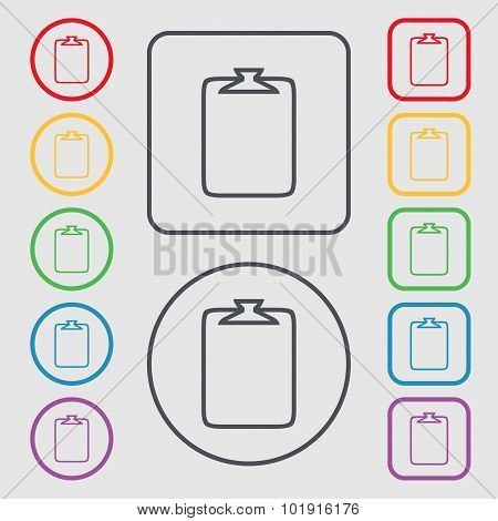 File Annex Icon. Paper Clip Symbol. Attach Sign. Symbols On The Round And Square Buttons With Frame.