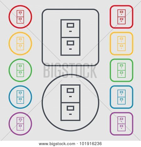 Safe Sign Icon. Deposit Lock Symbol. Symbols On The Round And Square Buttons With Frame. Vector