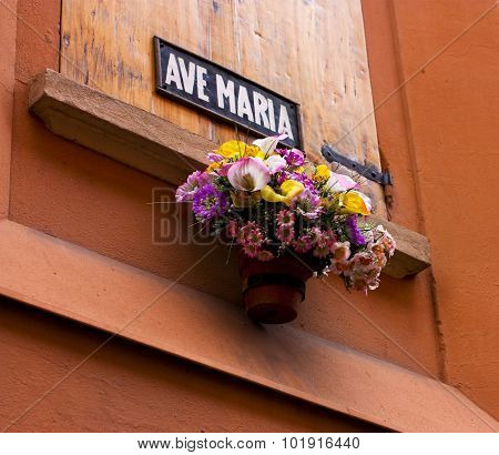 Flowers and Ave Maria sign