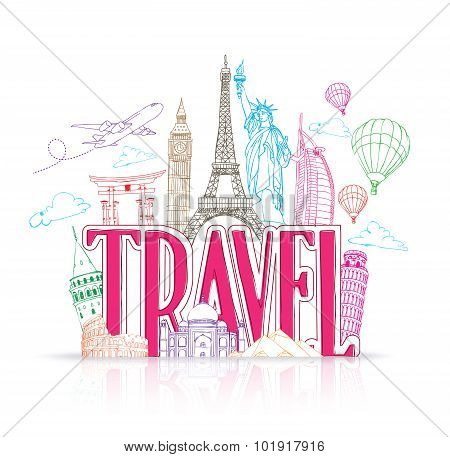 Travel Title Concept Design Background of Line Drawing