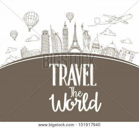 Travel The World Design Background of Line Drawing