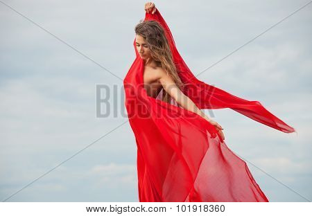 Nude Woman With Red Fabric