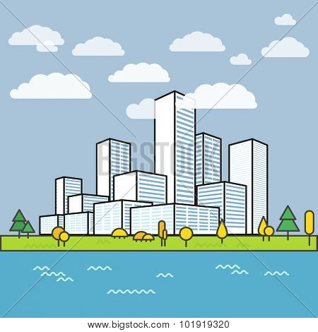 Modern city district. Buildings in perspective. Minimalism illustration concept