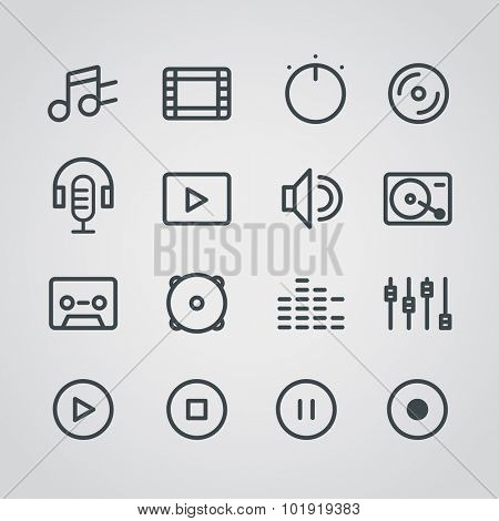 Modern media web silhouettes collection