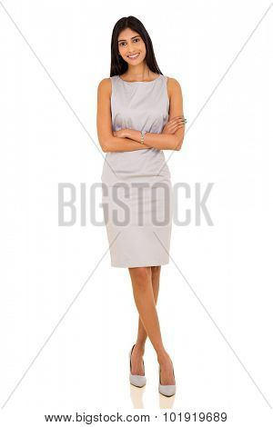 confident indian business woman with arms crossed on white background