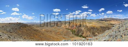 Panorama landscape with deposit of colorful clay in the Altai Mountains or Mars valley