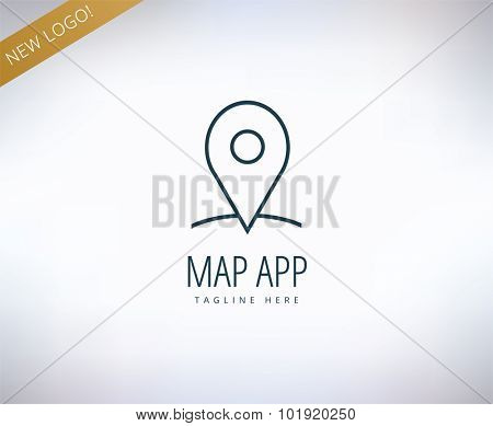 Map marker on the map icon element. Place, travel, transport and app. Vector stock illustration for design