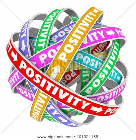 Positivity word in ribbons in a sphere to illustrate endless cycle of having a good mood, attitude or mindset in life, work, career or job to achieve success
