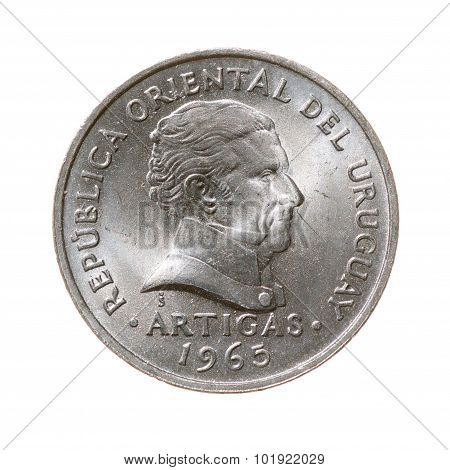Coin. Twenty Centimes Republic Of Uruguay Isolated On A White Background. Top View