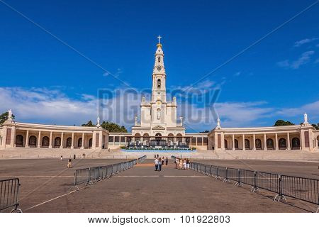 Catholic Cathedral, bell tower and colonnade in Fatima, Portugal