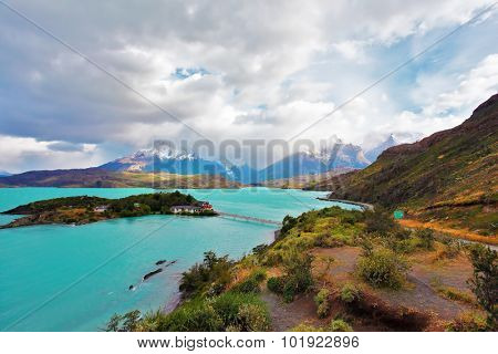 Beautiful Patagonia. Snow-capped mountains and emerald lake. Park Torres del Paine in southern Chile