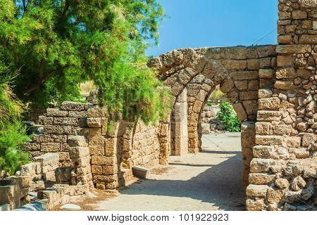 Perfectly remained ancient arch overlappings of malls. National park Caesarea on the Mediterranean Sea. Israel