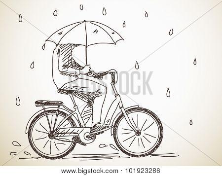 Sketch of bicyclist with umbrella under rain, Hand drawn Vector illustration