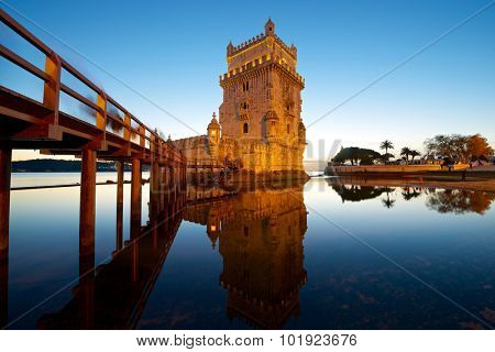 Belem Tower on Tagus river, Lisbon, Portugal.