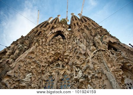 BARCELONA, SPAIN - MAY 02: Stonework at the Nativity facade of the Sagrada Familia, a cathedral and world heritage site designed by Catalan architect Antoni Gaudi. May 02, 2015 in Barcelona Spain
