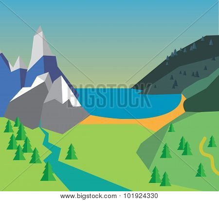 Color vector illustration of summer time - village, mountain, sea, clouds, trees nature, river, fres