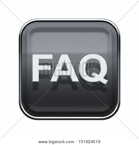 Faq Icon Glossy Grey, Isolated On White Background
