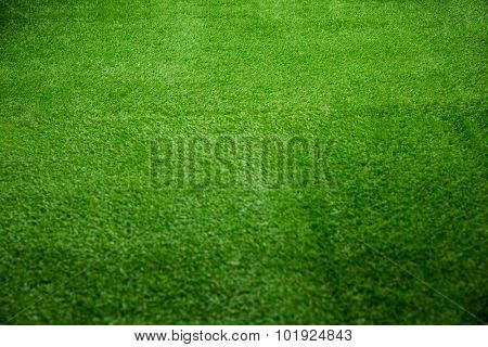 Close up view of turf on american football field