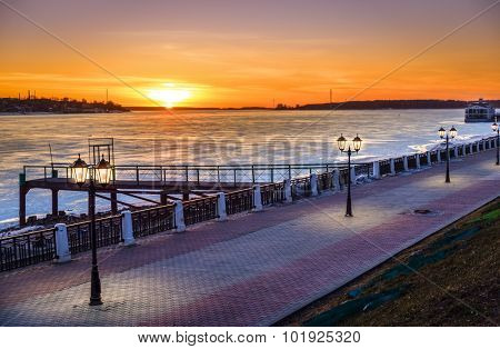 Riverwalk along the Volga River in the city of Kostroma, Russia