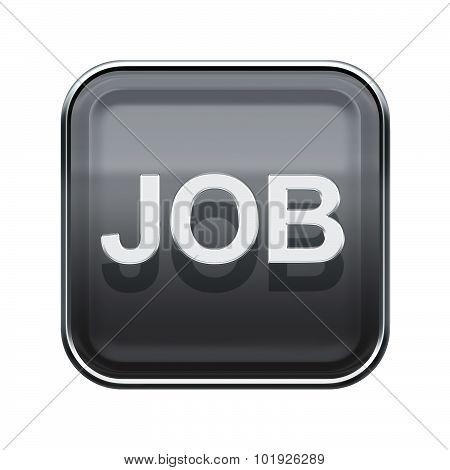 Job Icon Glossy Grey, Isolated On White Background