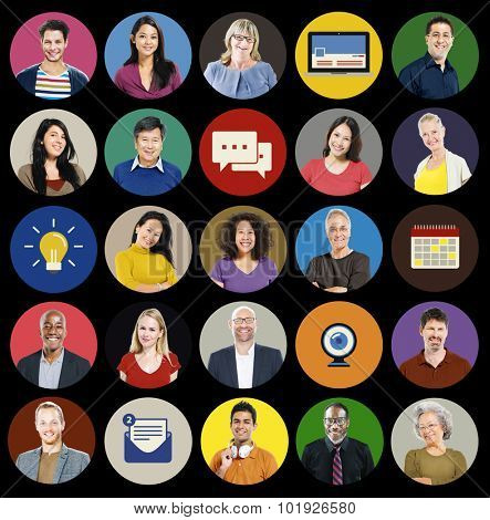 People Diversity Human Face Social Media Concept