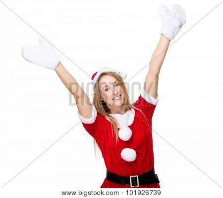 Excited x mas woman with hand raised up