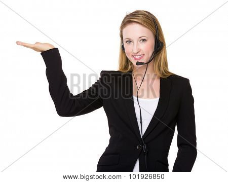 Customer services operator with open hand plam