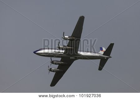 BUDAPEST, HUNGARY - MAY 1: Restored DC-6 Flying as part of the air show on May 1 celebration of 2014, Budapest, Hungary.