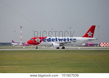 BUDAPEST, HUNGARY - MAY 5: Edelweiss A320 landing at Budapest Liszt Ferenc Airport, May 5th 2013. Edelweiss is Swiss airline.