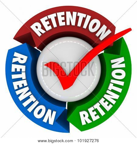 Retention word on arrows around a check mark to illustrate a successful campaign to keep or hold onto customers, clients, workers, employees or staff