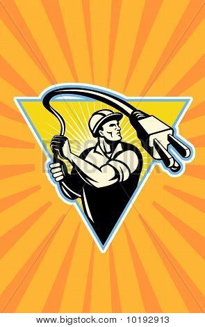 Power lineman electrician worker lasso